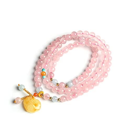 WJCRYPD Pulseras para Mujer Natural Pink Crystal Mujer S Pulsera Tres círculos Colgando Beeswax Caja Fuerte Lock Yoga Fiesta de cumpleaños Pulsera Joyería Regalo Qf Shop