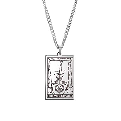 WUJIAO Collar de Tarot, Carta Principal de Grand Arcana, un Juego Completo de 22 Cartas, Collar de Acero Inoxidable, Collar de Hombre, Amante (Plata)