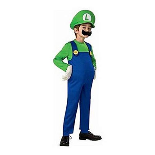 Petainer Disfraz Mario y Luigi Bros Niño Cosplay Costume (Verde, L 125-135)