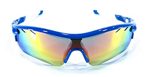 Brown Labrador Polarisierte Radbrille mit 5 austauschbaren Gläsern UV 400 Sportbrille Running Trail Running MTB für Damen und Herren (blau-weiß)