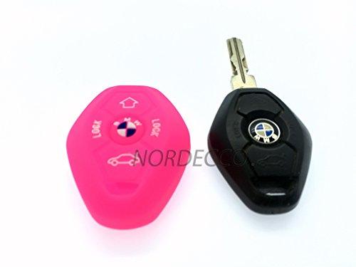 Silicone de Haute Qualité à distance 3/4 boutons FOB Housse de protection pour BMW 3 E35 E46 E90 E39 38 36 E91 E60 65 66 67 E61 E53 BMW 3 5 6 7 modèle de la série M Sport 3 M3 M5 X5 X6 7 Z3 Z4 (Rose)