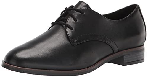Clarks Women's Trish Tye Oxford, Black Leather, 8