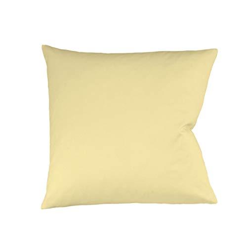 fleuresse Mako-Satin-Kissenbezug Uni Colours Farbe vanille 215 Größe 50 x 70 cm