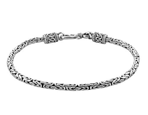 Armband für Damen und Herren, 925 Sterlingsilber, Bali, Königskette, oxidiert, 2,5 mm dick, 19 cm lang