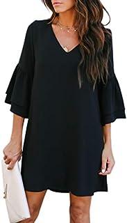 BELONGSCI Women's Dress Sweet & Cute V-Neck Bell Sleeve Shift Dress Mini Dress