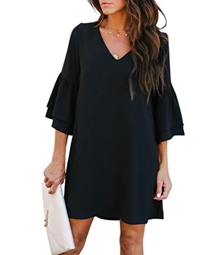 BELONGSCI Women's Dress Sweet & Cute V-Neck Bell Sleeve Shift Dress Mini Dress Sky Blue