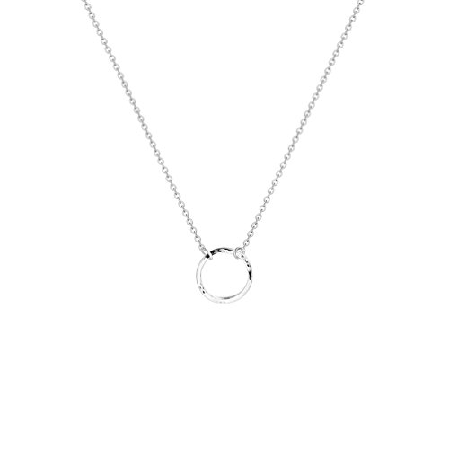 Fettero Circle Necklace Sliver Karma Open Hammered Round Ring Pendant Dainty Chain 14K Gold Plated Minimalist Simple Boho for Women Jewelry Mother's Gift