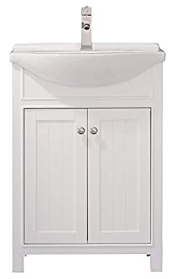 """LUCA Kitchen & Bath LC24HWP Carson 24"""" Bathroom Vanity Set in White with Integrated Porcelain Top"""