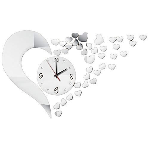 LAMEIDA Reloj de Pared 3D Reloj de Pared Moderno DIY Adhesivo Decorativo...