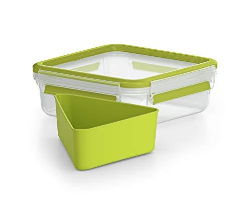 Emsa Clip&Go - Recipiente hermético de plástico para Sandwich con compartimento para sandwich, bocadillos y aperitivos, libre de BPA, transporte fácil, 0,85 L