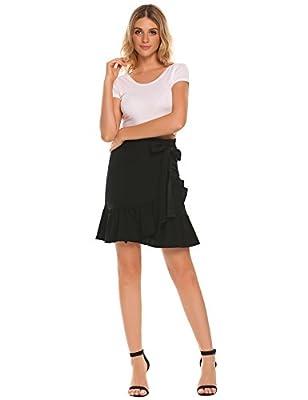 Zeagoo Women's Tie Bow Street Midi Plus Size Cotton High Waist A Line Skirts