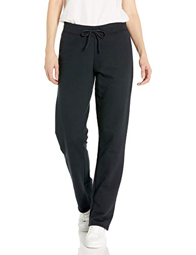Fruit of the Loom Women's Essentials French Terry Pants and Tri-Blend Tees, Open Bottom - Black, Medium