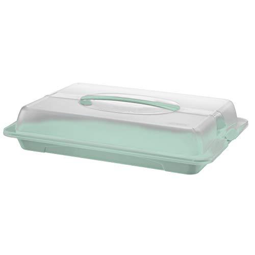 Rotho John Maggiordomo da Festa con Cappuccio e Maniglia, Plastica (PP) senza BPA, Turchese/Trasparente, 43.5 x 29.5 x 9.0 cm