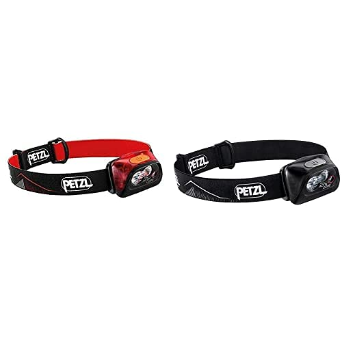 PETZL Actik Core Linterna Frontal, Unisex Adulto, Rojo, Talla Única + Actik Core - Linterna (Linterna con Cinta para Cabeza, Black, Botones, Ipx4, CE, 450 LM)