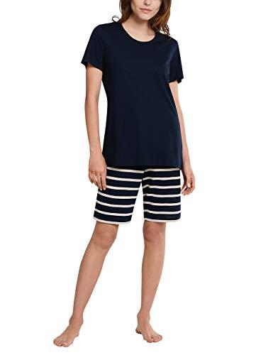 Schiesser Damen Anzug kurz Pyjamaset, Nachtblau, 38