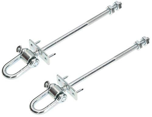 KOTARBAU® 2er Set Schaukelhaken M10 x 190 mm mit Schäkel und Bolzen für Schaukelbalken Sicherheitshaken Schaukel Befestigung Bolzen Haken Gewinde Verzinkt