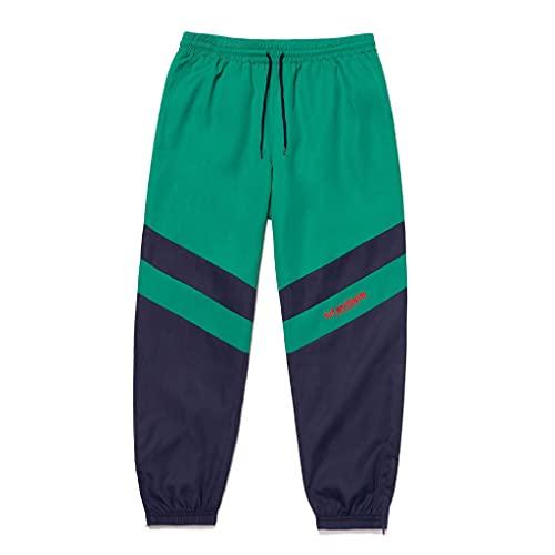 HUF - Pantalón Track Switzer - De Nylon Ripstop - Color Block - Logo bordado - Azul/Verde, Navy Blazer, L