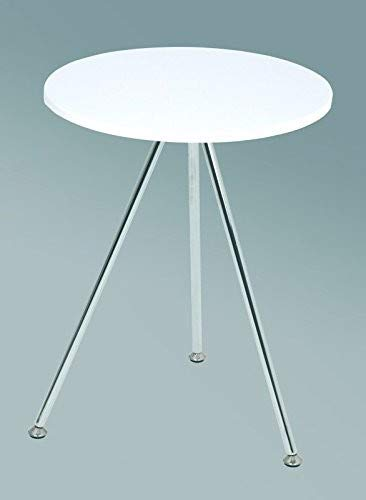 Haku Möbel 33355 Table Basse d'Appoint Tube d'Acier Chromé/Blanc