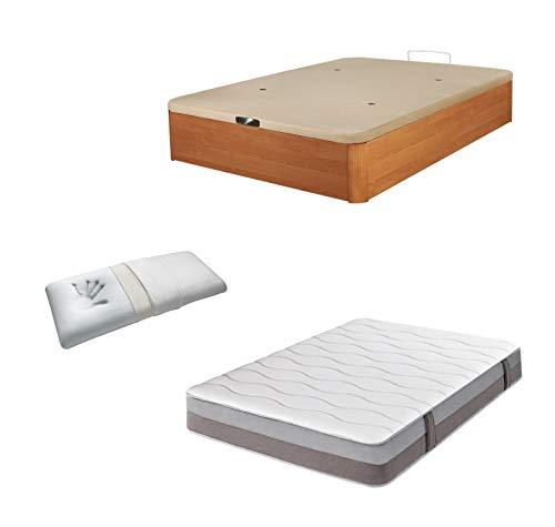DHOME Pack Canape abatible tapizado 3D Madera + Colchón viscografeno, Reversible mas Almohada viscoelastica (105x190 Cerezo,...
