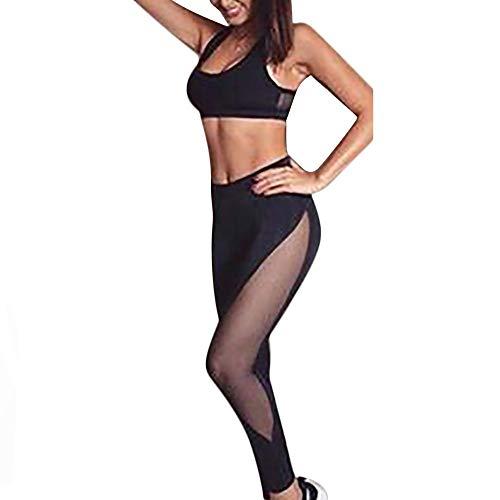 FIRSS Damen Trainingsanzug Jogginganzug Sportanzug 2 Teilig Sport Anzug Yoga Fitness Bodycon Slim Leggings Sportswear Freizeitanzug Kurzarm Crop Tops Bekleidungsset L