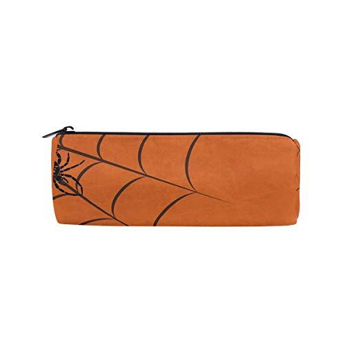 BENNIGIRY - Estuche cilíndrico de tela de araña para Halloween, multifuncional, con cremallera, ideal para guardar lápices o como bolsa de maquillaje