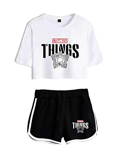 Conjunto Mujer Top y Pantalones Cortos Stranger Things, Conjunto Deportivo Camiseta y Pantalón Stranger Things Chica, Chándal para Niñas y Mujers (28,S)