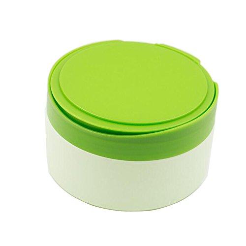 1 pcs Plastique Vert vide Portable recharge Baby Skin Care After-bath Poudre Poudre Coque Puff de talc Maquillage de stockage de support à nourriture Dispensor avec tamis et éponge Puff