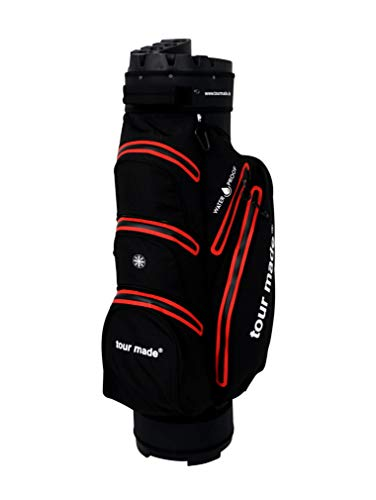 tour made Waterproof WP14TEX Organizer Trolleybag Golfbag Golftasche wasserdicht (schwarz-rot)