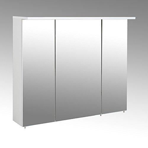 lifestyle4living Spiegelschrank, Badezimmerspiegel, Badezimmerschrank, Badspiegel, weiß, Hochglanz, LED-Beleuchtung, Steckdose, Hängeschrank, modern
