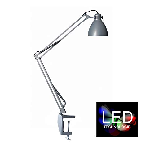 Luxo L-1 LED-Schreibtischleuchte in Aluminiumgrau, inklusive Tischklemme - robuste Arbeitsplatzlampe aus Stahl und Aluminium mit moderner LED-Technik, Pixar Leuchte, Schreibtischlampe und Arbeitsplatzbeleuchtung