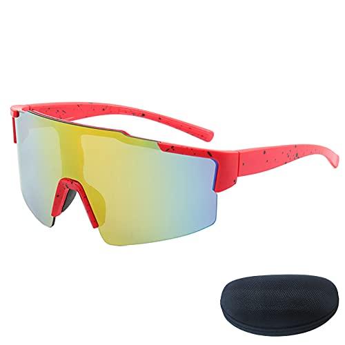 Gafas de Sol de Montar, Lente de PC Nuevas Gafas de Sol Deportivas Cómodas y a Prueba de Viento, Béisbol Correr Pesca Gafas de conducción de Golf Red