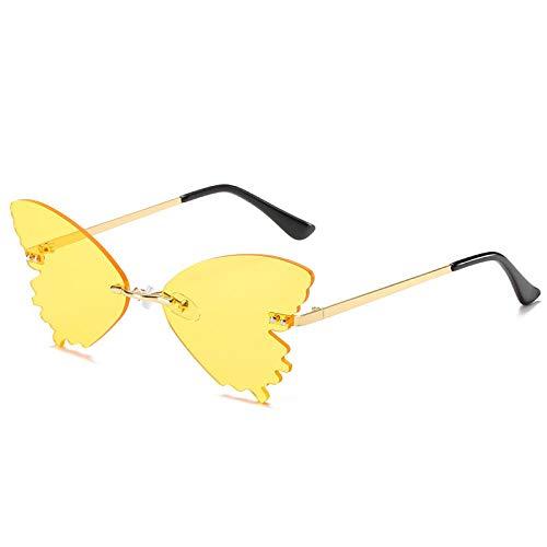 FRGTHYJ Driving Brille Frauen Rahmenlose Schmetterlingsförmige Sonnenbrille Schmetterlingsflügel Kleiner Rahmen Modebrille Schmücken Sonnenbrille gelb