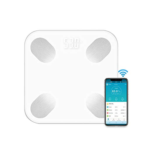 QQO Bathroom Scales, Body Fat Scale Smart BMI Scale LED Digital Bathroom Wireless Weight Scale Balance Bluetooth APP Suitable for Android IOS,B