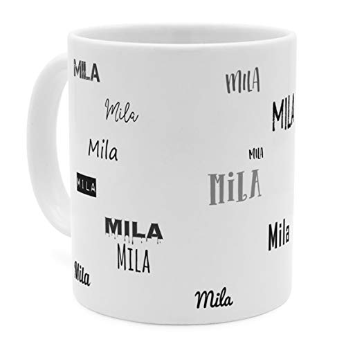 printplanet Tasse mit Namen Mila - Motiv Schriftarten Sammlung - Namenstasse, Kaffeebecher, Mug, Becher, Kaffeetasse - Farbe Weiß