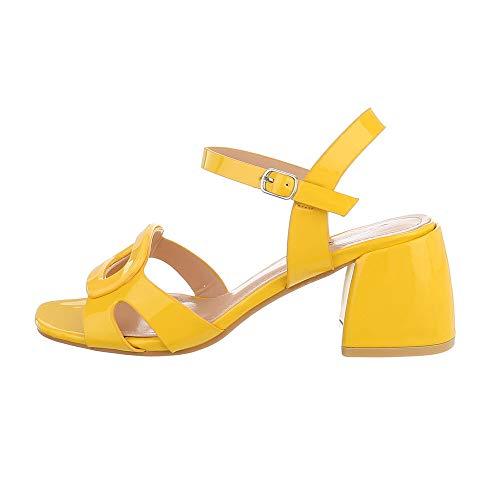 Ital-Design Damenschuhe Sandalen & Sandaletten High-Heel Sandaletten, 369-57-, Kunstleder, Gelb, Gr. 39