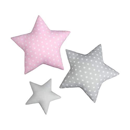 LULANDO Stern Sternchen Kissen 3er-Set, traumhaftes Kissen-Set, Baumwollkissen für Kinder in DREI Farben, einzigartige Kinderzimmer-Deko, weiche Kuschelkissen (Pink)
