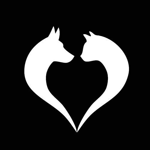 SHMAZ 14.8CM*15CM Cat Dog Animal Paw Love Heart Fuel Tank Cap Bumper Window Car Sticker Black/Silver