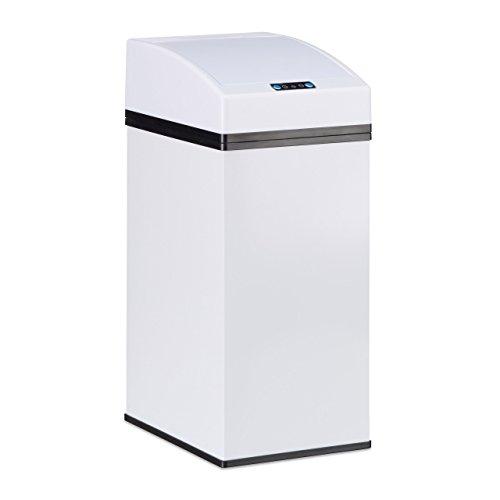 *Relaxdays, weiß Sensor Mülleimer, Automatikdeckel, Inneneimer mit Griff, hygienisch, 7 L, Stahl, HxBxT: 35 x 15 x 20 cm, Standard*