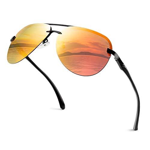 GQUEEN Pilotenbrille Herren Damen Polarisiert Fliegerbrille Sonnenbrille Verspiegelt MOF3