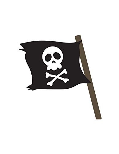 Sticker Garçon : Drapeau tête de mort - Format : 100 x 97 cm