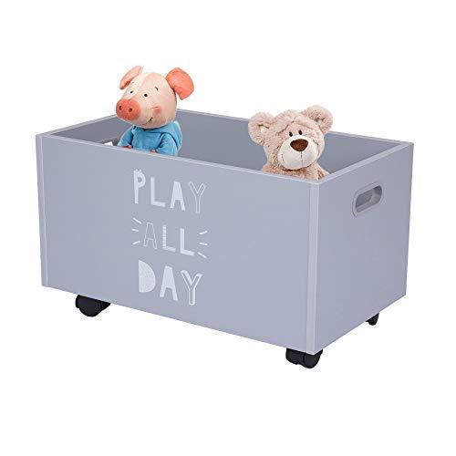 Feenice Spielzeug Lagerwagen auf Rollen,Spielzeugkiste,Mit Walze Aufbewahrungskiste Kiste,Lagerwagen Spielzeugbox,Holztruhe auf Rollen Brustkorb Organizer für Kinder