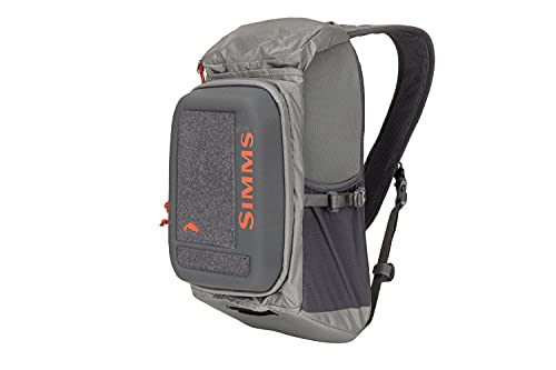 Simms Freestone Ambidextrous Tactical Fishing Sling Pack, Water Resistant Bag, Pewter