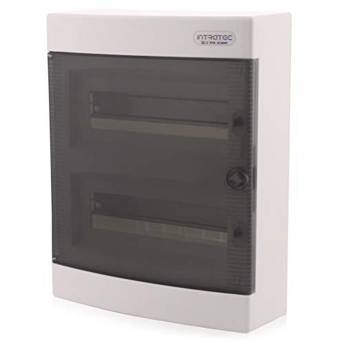 Sicherungskasten Aufputz IP40 Verteiler Gehäuse 2-reihig bis 24 Module Transparenter Tür für die Trockenraum Installation im Haus