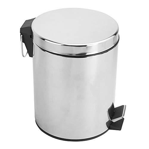 Papelera 5L | Cubo de basura con contenedor extraíble | Papelera de acero inoxidable con tapa | Cubo de basura con revestimiento | Papeleras de baño | Basurero | M&W