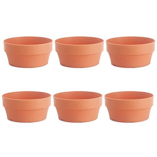 Cabilock 6 Pcs en Plastique Pot De Fleur en Argile Japonais Rond Planteurs Succulents Cactus Pot De Fleur Jardin Décoration De La Maison (Orange 12. 5 Cm)