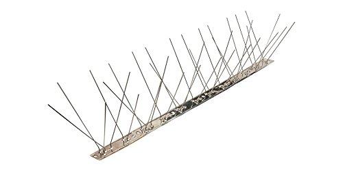 Pestsystems Vogelabwehrsystem, 1 Meter Taubenspikes 3-reihig auf V2A-Flexleiste - hochwertige Lösung für Vogelabwehr Taubenabwehr Edelstahl Spikes