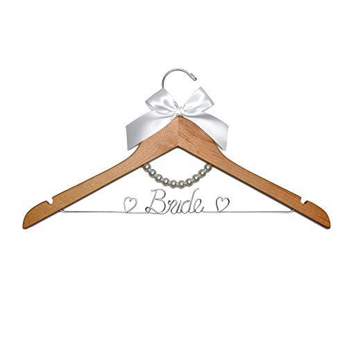 Vnque Wedding Dress Hanger Bride Hanger Wire Hanger Bridal Gift Natural Wood Silver Thread