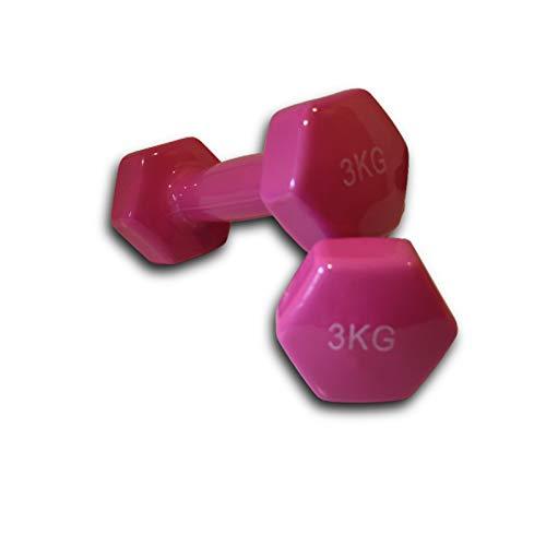Mancuernas de Vinilo (Vendido en Pares de 3 kg) | Mancuernas hexagonales de Goma para Pilates | Pesas Antideslizantes para Gimnasio en casa | Deporte en casa con Pesas KOTTAO.