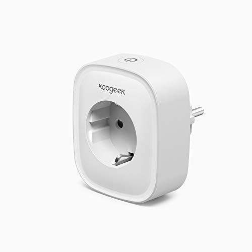 Enchufe Inteligente WiFi, Koogeek Smart Plug, Compatible con Alexa y Google Assistant, Control remoto de voz, Temporizador, Monitoreo de energía, No requiere concentrador (1 pack )