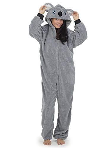 Pijama Entero Mujer con Unicornios Koala Perro Gato Koala Dinosaurio Pijamas de Animales Onesie Todo en Uno (M, Koala Gris)